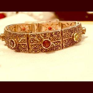 Antique Finish Bracelet with Semi Precious Stones
